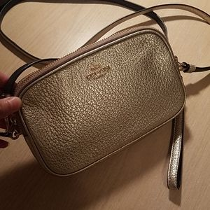 Gold Coach Mini crossbody bag
